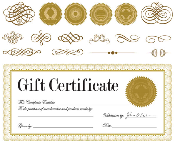 595x486 Gift Certificate And A Badge Vector Download Free Vectors