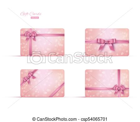 450x394 Pink Gift Card Or Gift Voucher Template Set. Vector Pink Ribbons