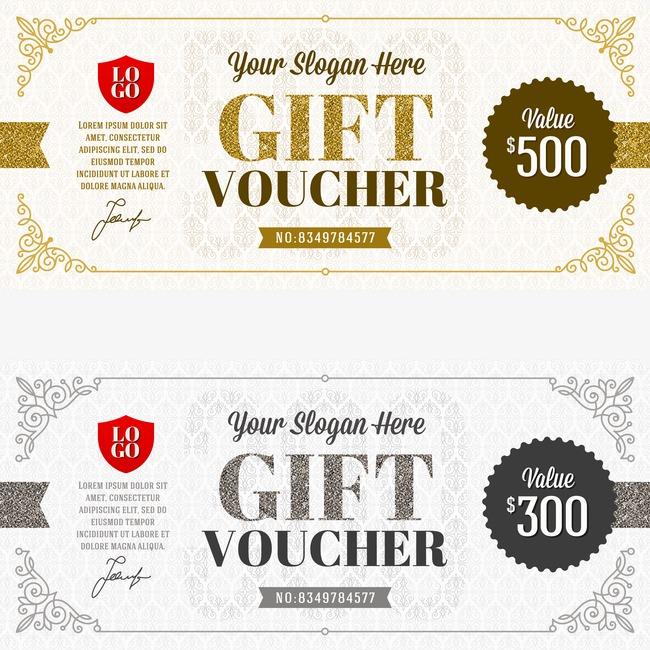 650x650 Vector Gift Certificate Template, Vector Voucher, Fantasy