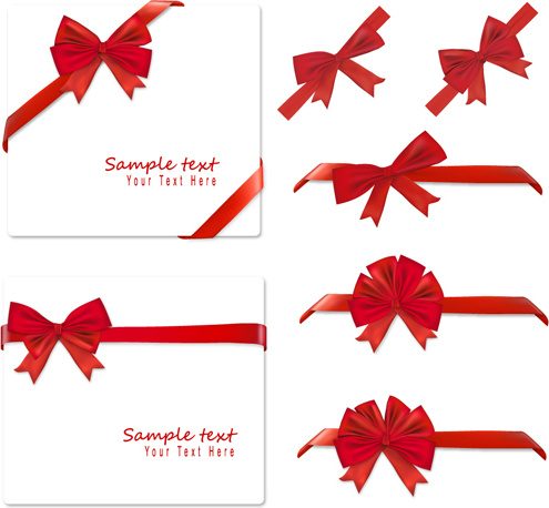 495x458 Gift Card With Red Ribbons Design Vector Vector Misc Free Vector