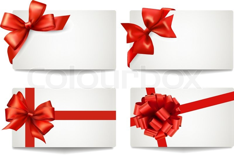 800x532 Set Of Beautiful Gift Cards With Red Gift Bows With Ribbons Vector