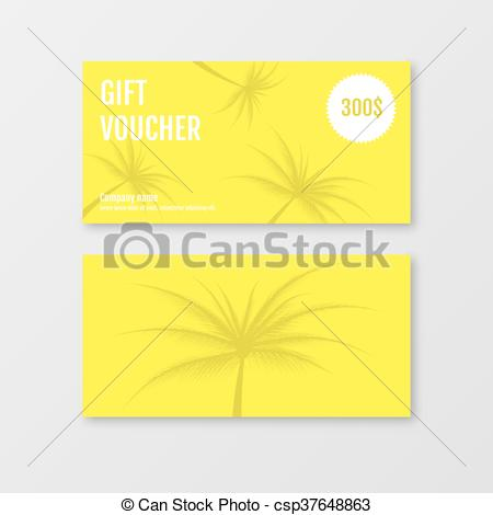 450x470 Gift Voucher Template With Palms. Gift Certificate. Yellow Gift