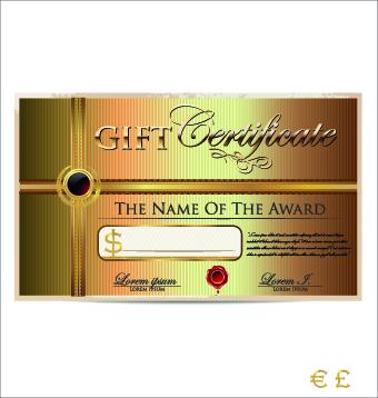 340x358 Luxurious Gift Certificate Golden Template Vector 01 Free Download