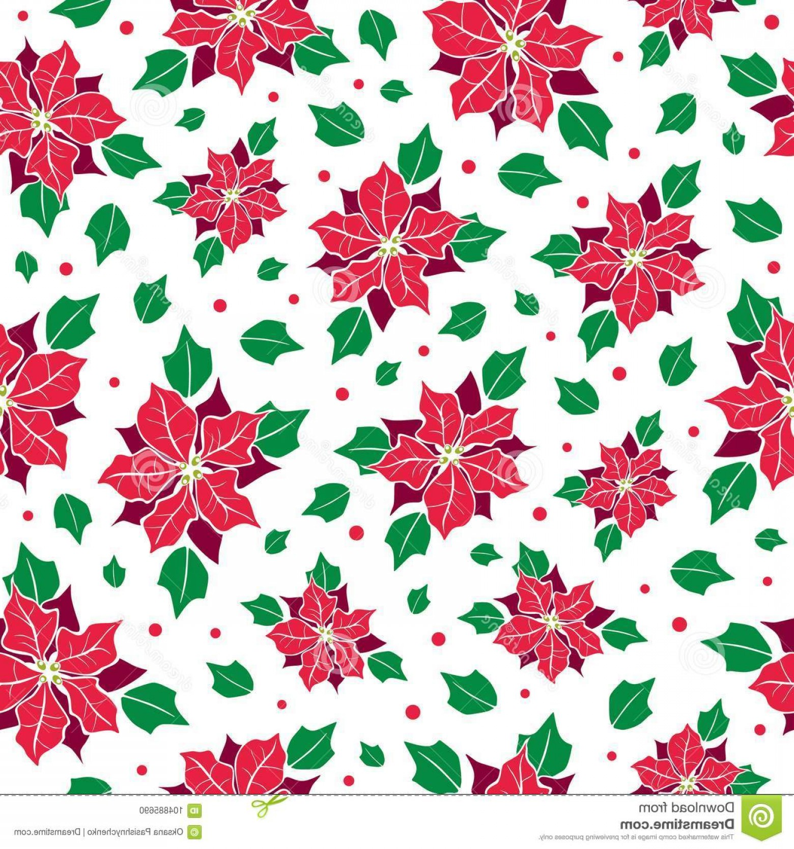1560x1668 Vector Red Green Poinsettia Flower Holly Berry Holiday Seamless