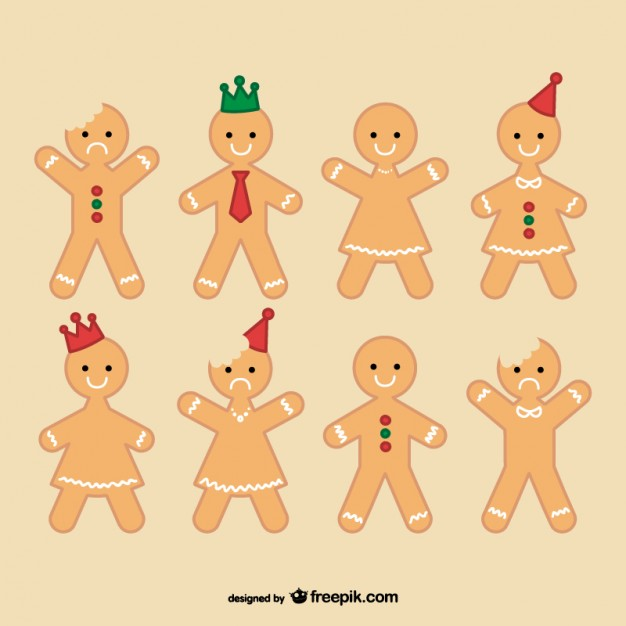 626x626 Gingerbread Man Collection Vector Free Download