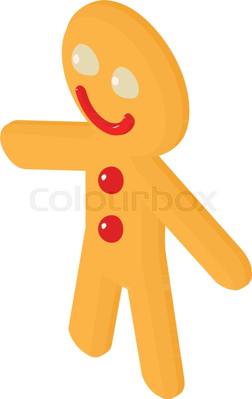506x800 Gingerbread Man Icon. Isometric Illustration Of Gingerbread Man