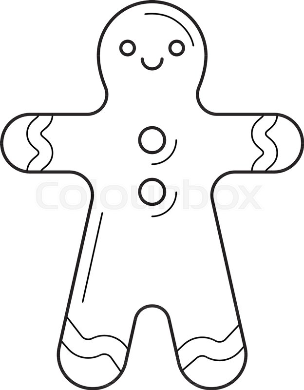 624x800 Gingerbread Man Vector Line Icon Isolated On White Background