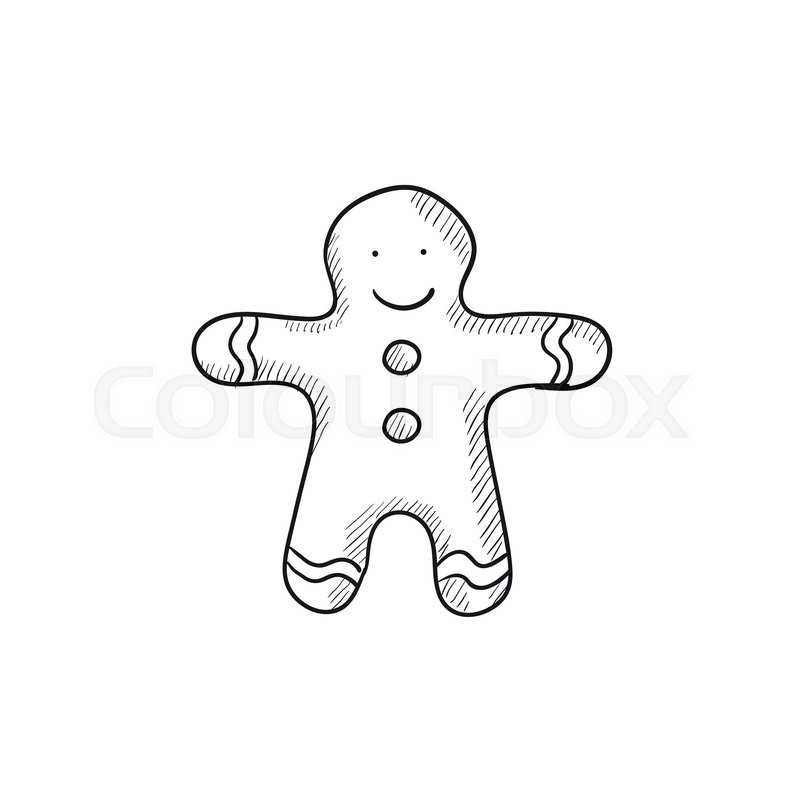 800x800 Gingerbread Man Vector Sketch Icon Isolated On Background. Hand