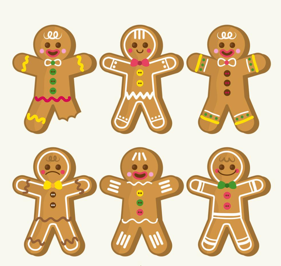 982x929 Six Color Christmas Gingerbread Man Vector Free Vector Graphic
