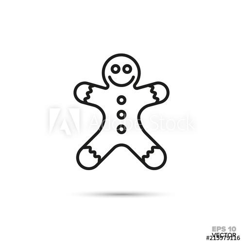 500x500 Gingerbread Man Vector Line Icon. Sweet Food Symbol.