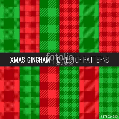 500x500 Christmas Gingham, Buffalo Check Plaid And Mini Check Seamless