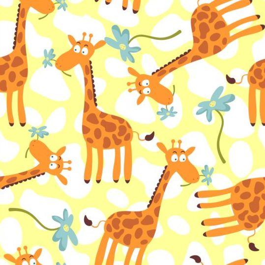 539x539 Cartoon Giraffe Seamless Pattern Vector Free Download