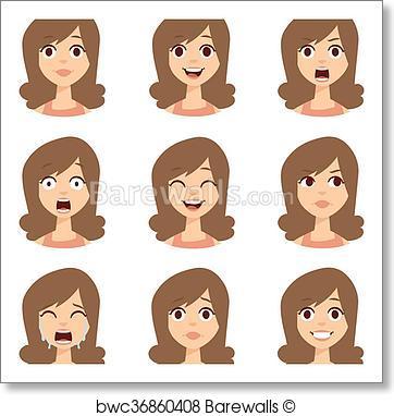 362x382 Art Print Of Woman Emoji Face Vector Icons. Barewalls Posters