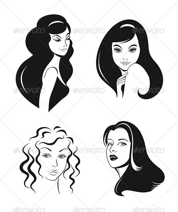 590x702 Woman Faces Vector Set By Teneresa Graphicriver