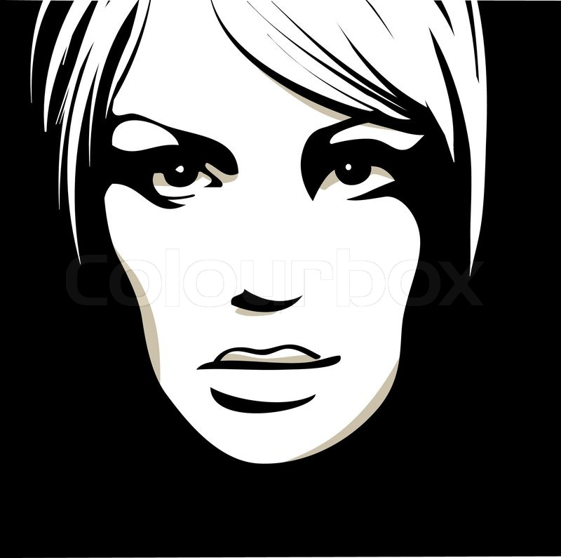 800x795 Woman Face With Beautiful Eyes, Vector Illustration Stock Vector