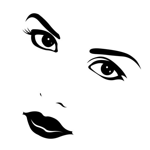500x500 Beautiful Girl Face Design Vector Set 08 Free Download