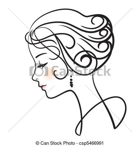 450x470 Beautiful Woman Face Vector Illustration .