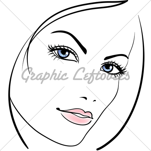 500x500 Beauty Girl Face Vector Icon Gl Stock Images
