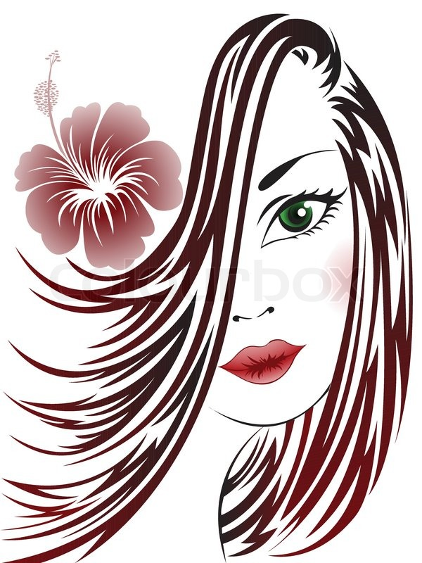 600x800 Girl With Flower In Her Hair Stock Vector Colourbox