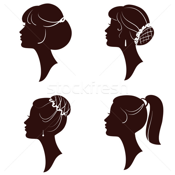 600x600 Hairstyles, Vector Beautiful Women And Girls Silhouettes Vector