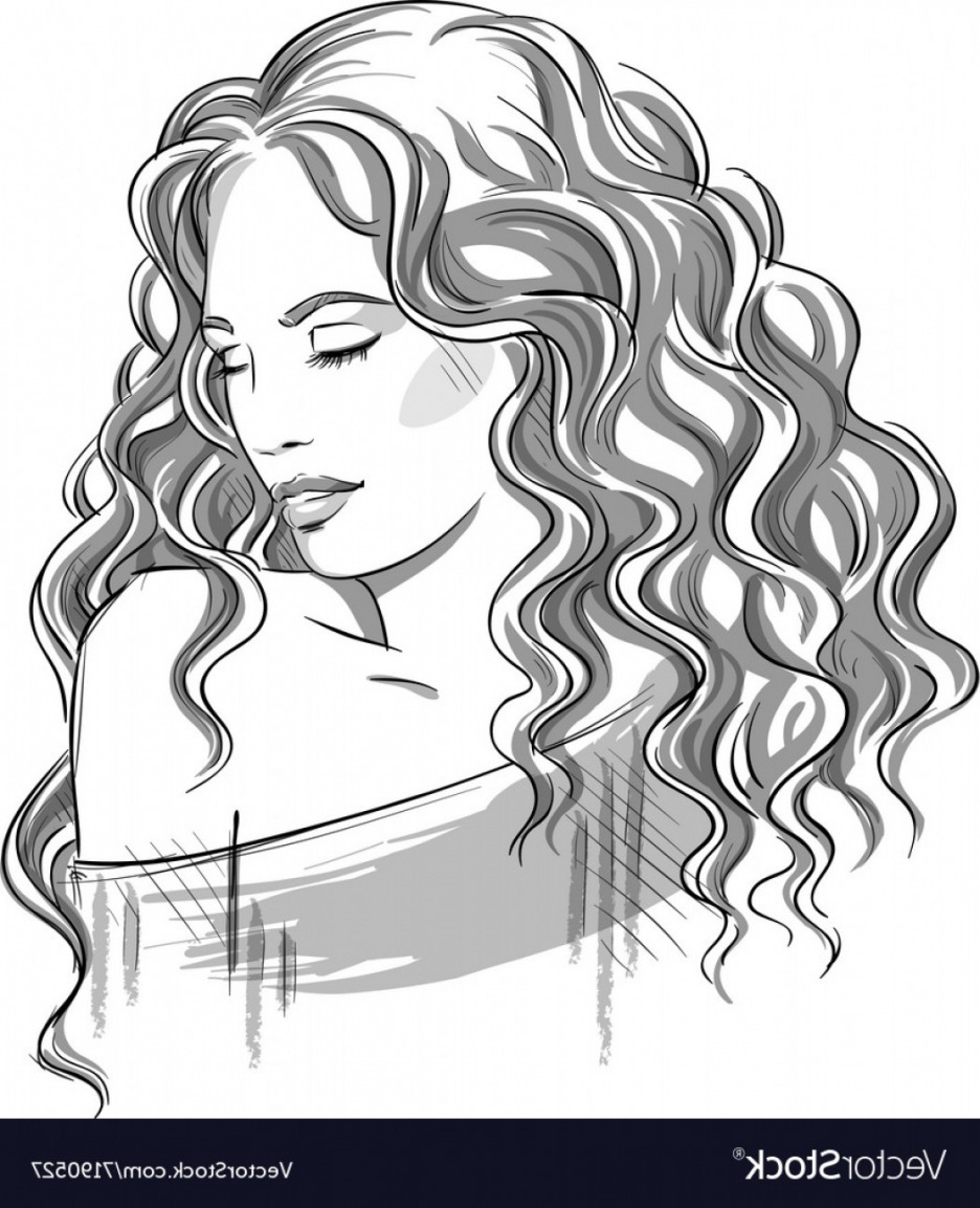 936x1153 Sketch Of A Beautiful Girl With Curly Hair Vector Shopatcloth