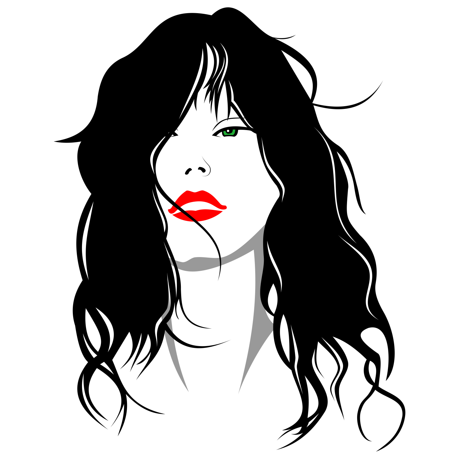 1500x1500 Vector For Free Use Woman With Her Hair