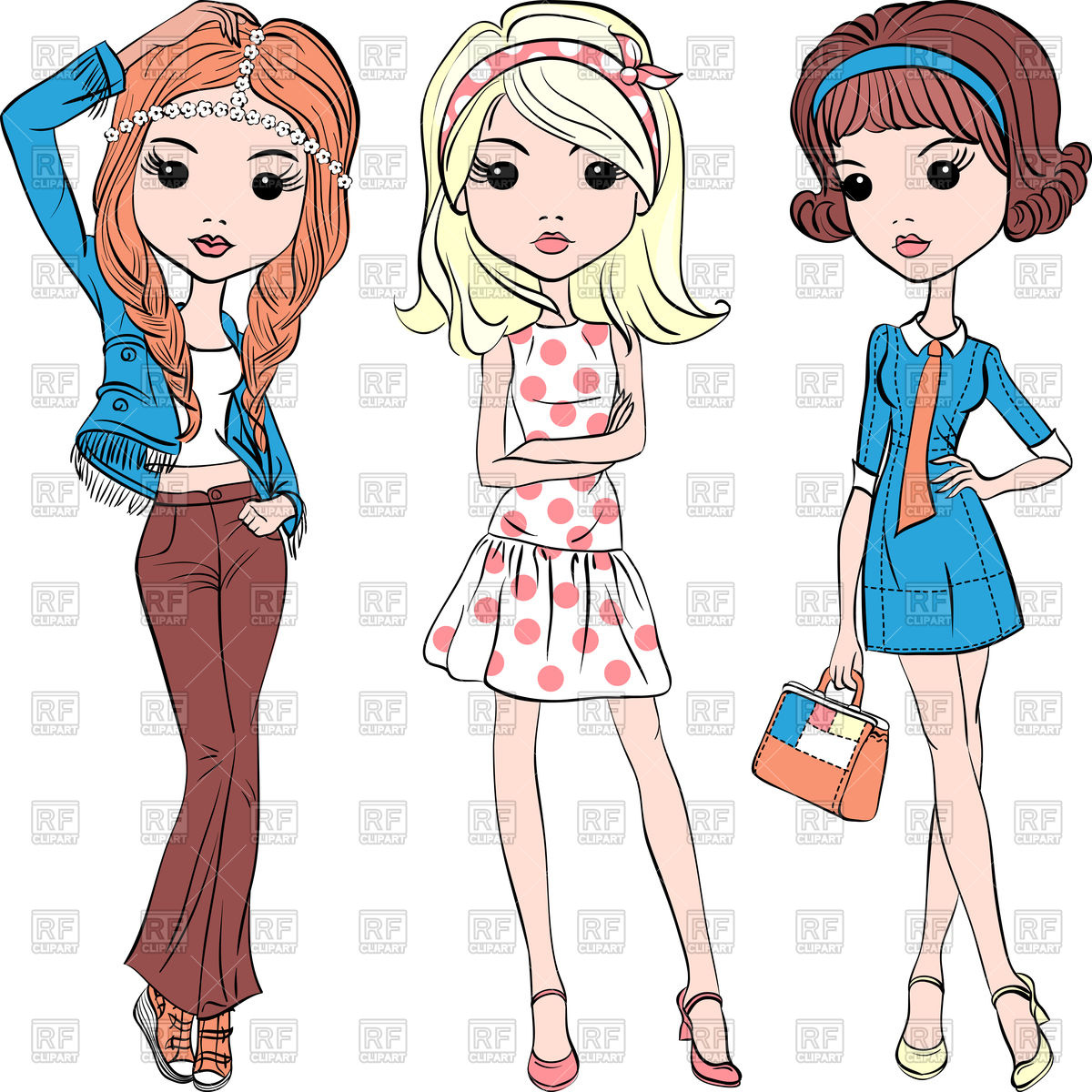 1200x1200 Cute Fashion Hipster Girls In Summer Dress Vector Image Vector