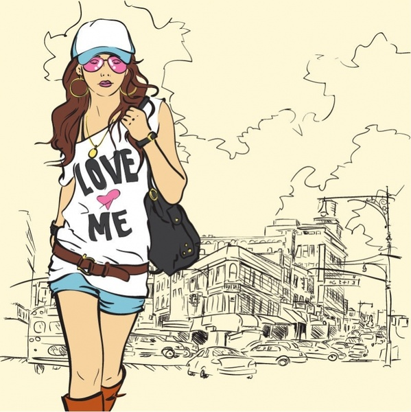 599x600 Fashion Girl Vector Illustration Free Vector In Encapsulated