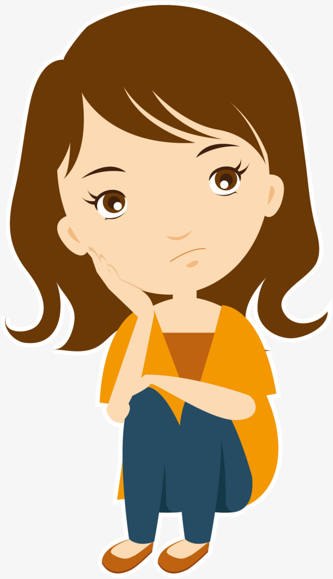 650x1128 Vector Thinking Girl, Vector, Think, Cartoon Png And Vector For