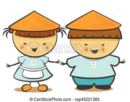 450x351 Vector Illustration Of Chinese Children, Boy, Girl. Vector