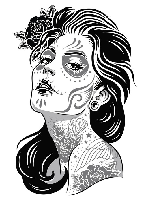 506x700 Black And White Day Of Dead Girl Vector Illustration Wall Decal