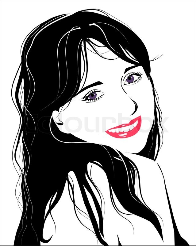 639x800 Line Art Portrait Of Flirting Young Girl Stock Vector Colourbox