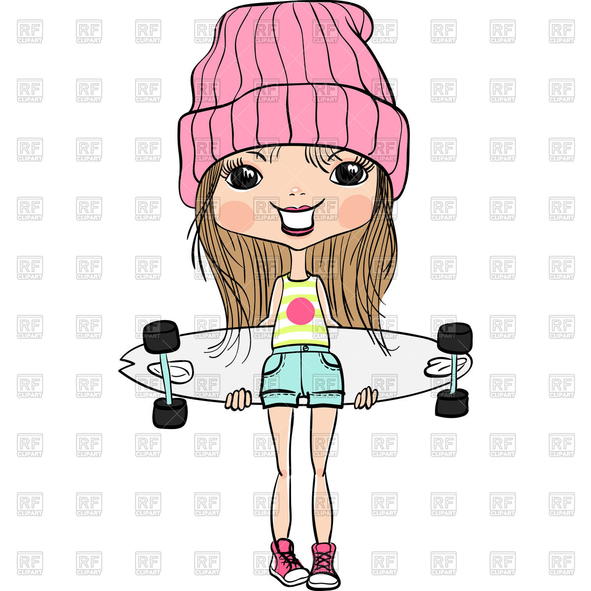 1200x1200 Cartoon Girl In Hat And Sneakers With Skateboard Vector Image