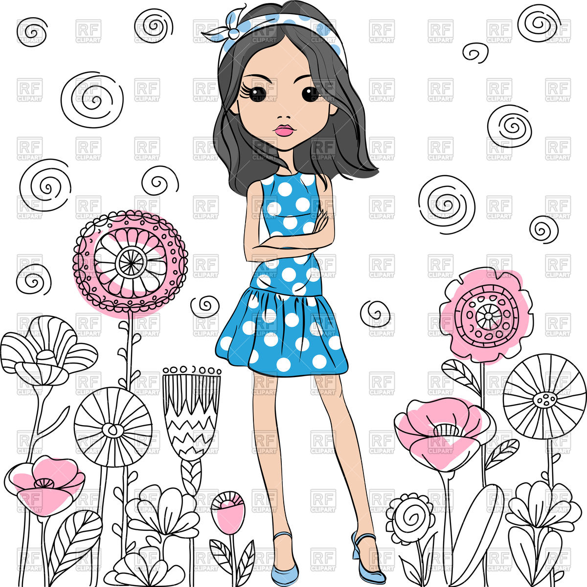 1200x1200 Cute Fashion Girl In Summer Dress Vector Image Vector Artwork Of