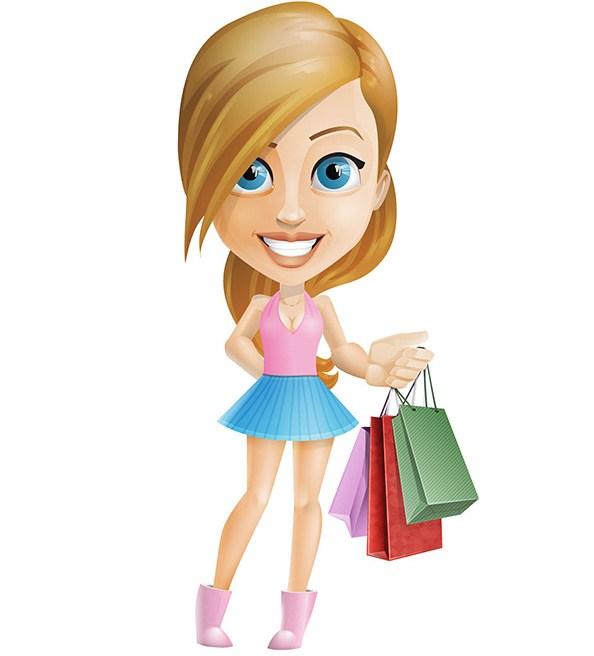 594x656 Shopping Teenage Girl Vector Character