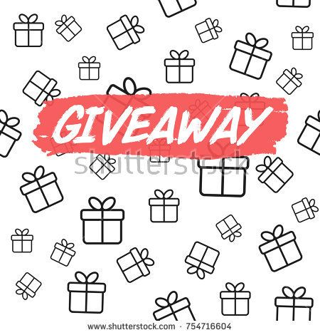 450x470 Giveaway Card Template For Blogs. Vector Background With Gift
