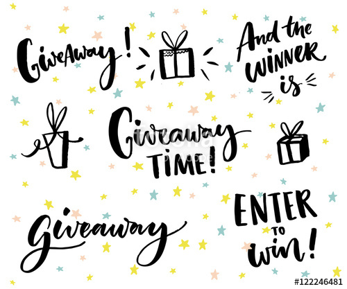 500x417 Giveaway Text And Design Elements. Set Of Handwritten Lettering
