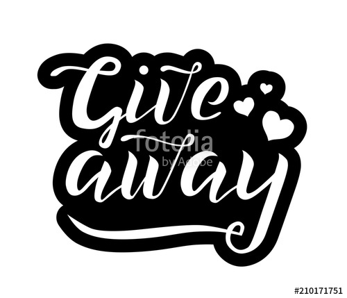 500x429 Giveaway Vector Lettering Illustration On White Background. Hand