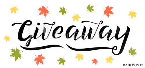 500x235 Giveaway Vector Lettering Illustration With Autumn Leaves. Hand