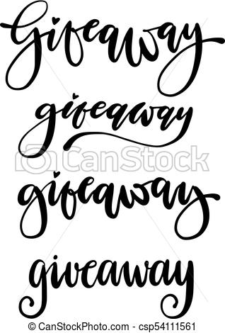 318x470 Giveaway Vector Lettering Set Illustration. Text Design