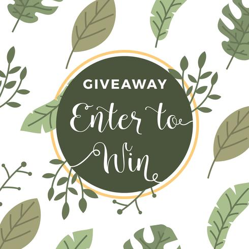 490x490 Flat Tropical Floral Instagram Contest Giveaway Template Vector
