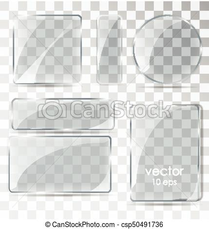 429x470 Set Of Glass Plates. Flat Glass With Glare. Glass Frame Isolated
