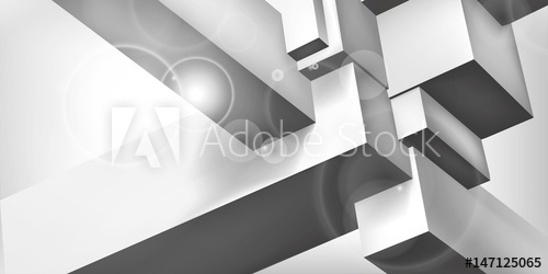 500x250 Volume Geometric Shape, 3d Cubes, Abstraction Group Object, Light