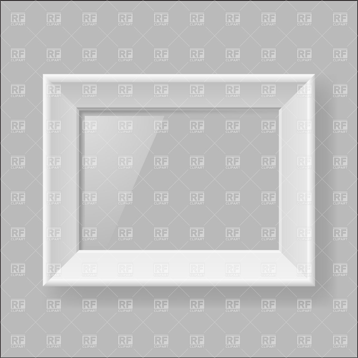 1200x1200 Blank White Picture Frame With Glare Vector Image Vector Artwork