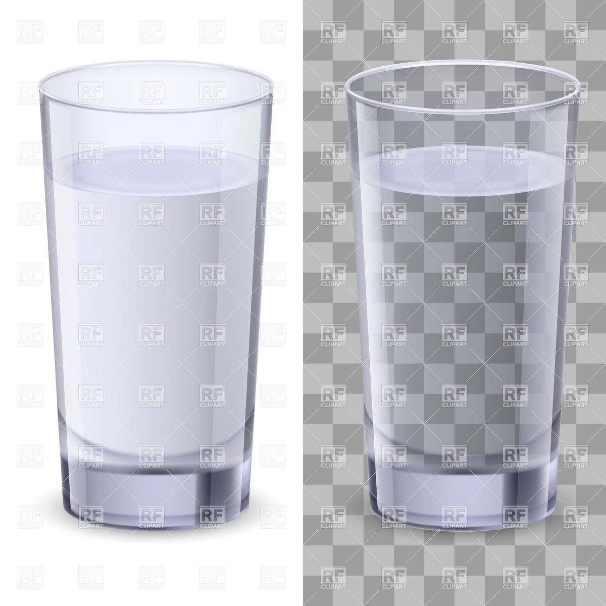 1200x1200 Realistic Straight Glass Of Water Vector Image Vector Artwork Of