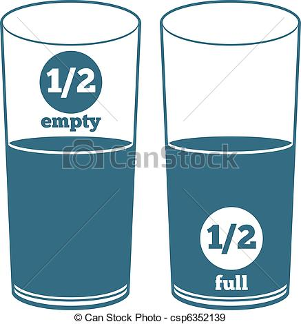 437x470 Two Glasses With Water. A Glass Half Full And A Glass Half Empty.