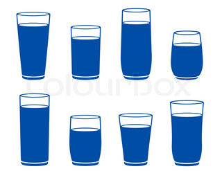 320x247 Blue Water Glass Set On White Background Stock Vector Colourbox
