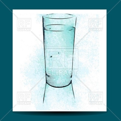 400x400 Watercolor Glass With Water Vector Image Vector Artwork Of