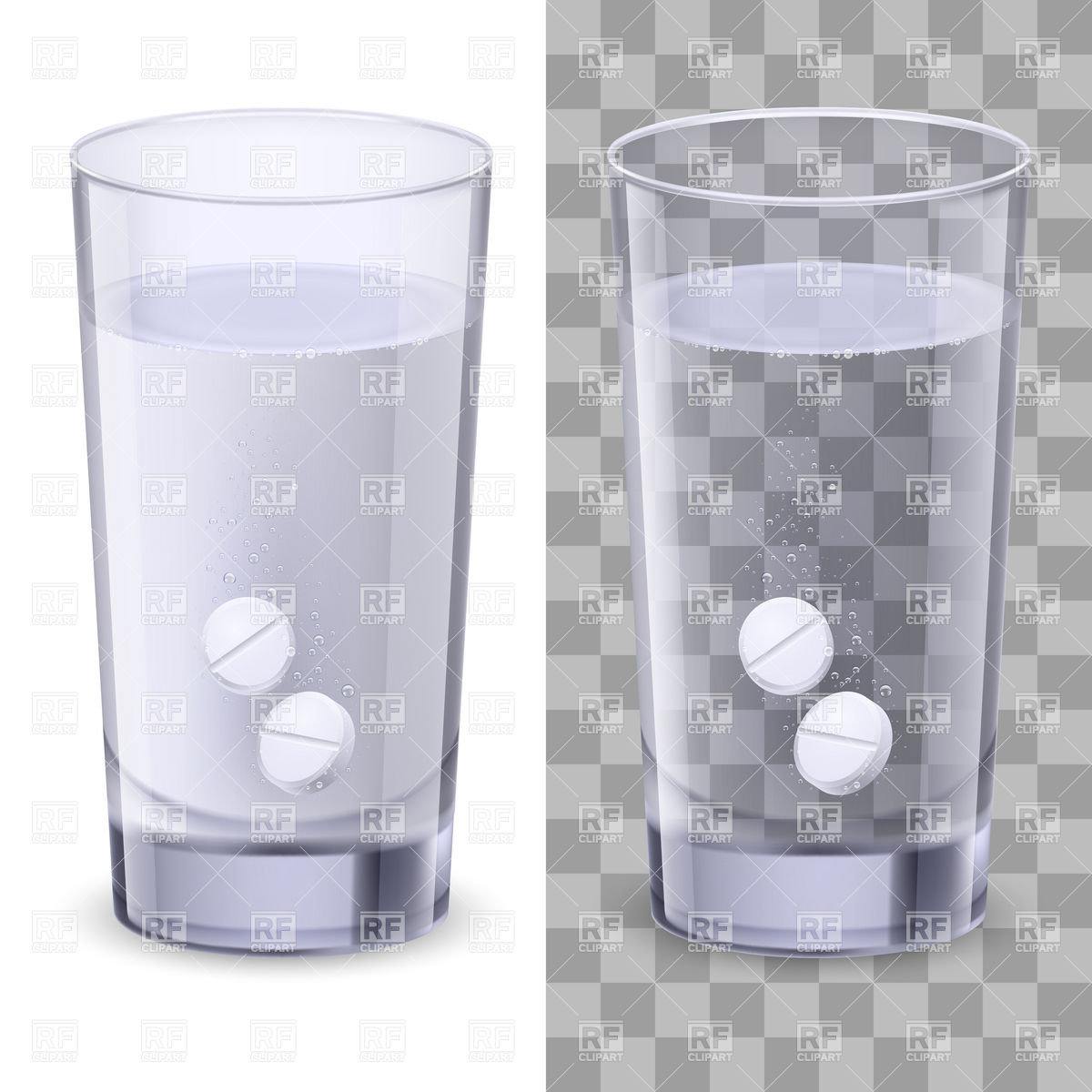 1200x1200 Dissolving Pills In Glass Of Water Vector Image Vector Artwork