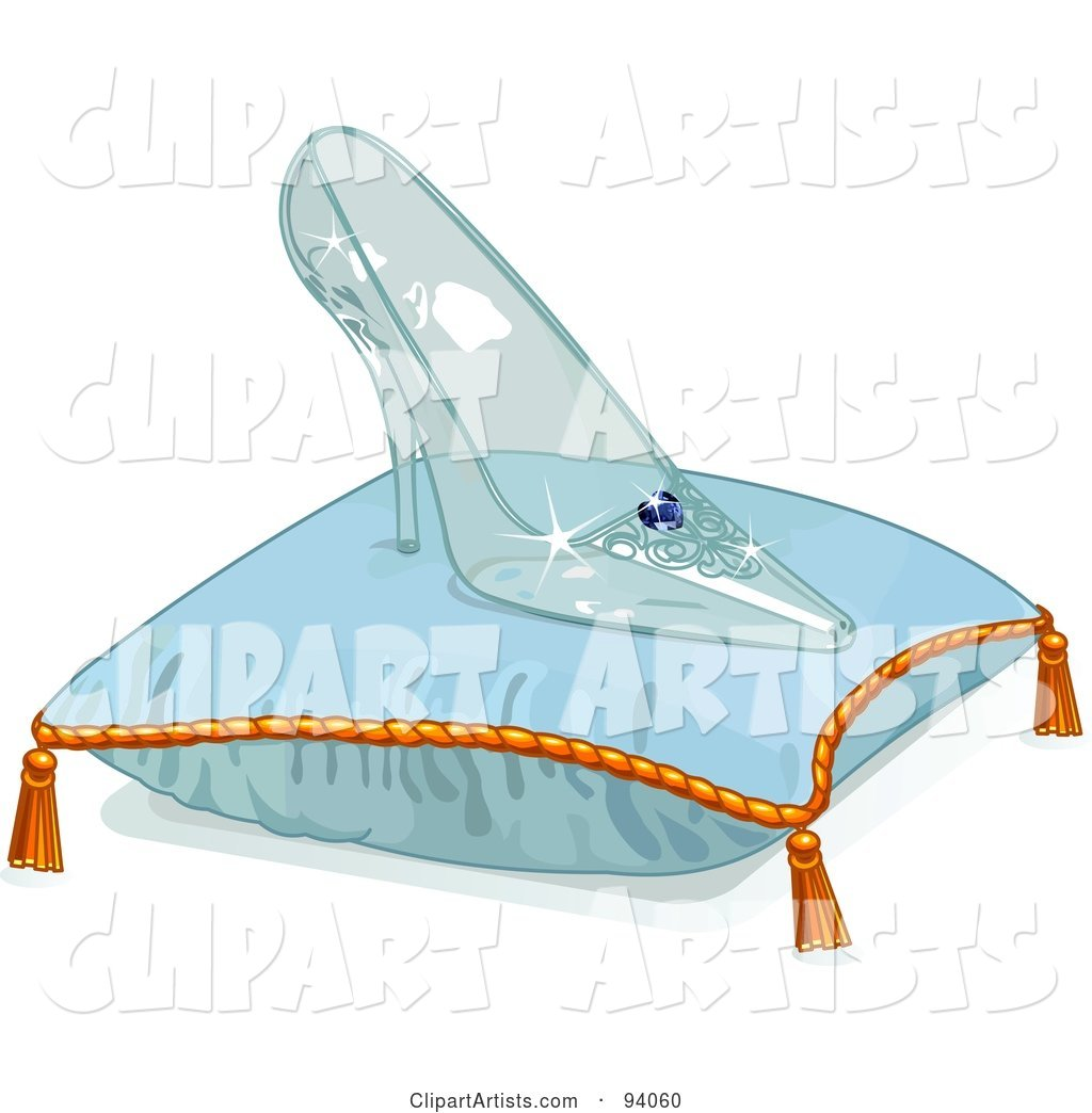 1024x1044 Glass Slipper On A Blue Pillow Clipart By Pushkin